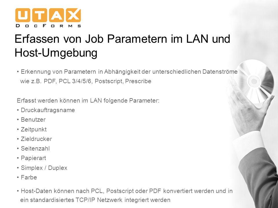 Erfassen von Job Parametern im LAN und Host-Umgebung