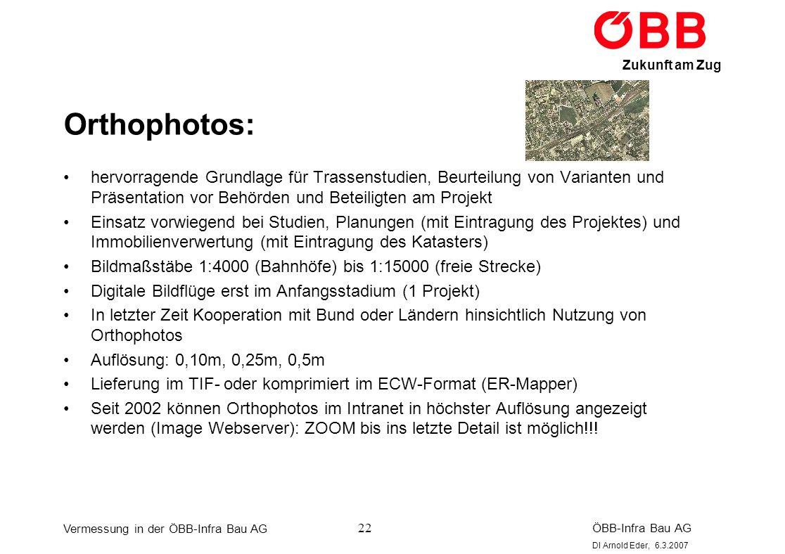 Orthophotos: hervorragende Grundlage für Trassenstudien, Beurteilung von Varianten und Präsentation vor Behörden und Beteiligten am Projekt.