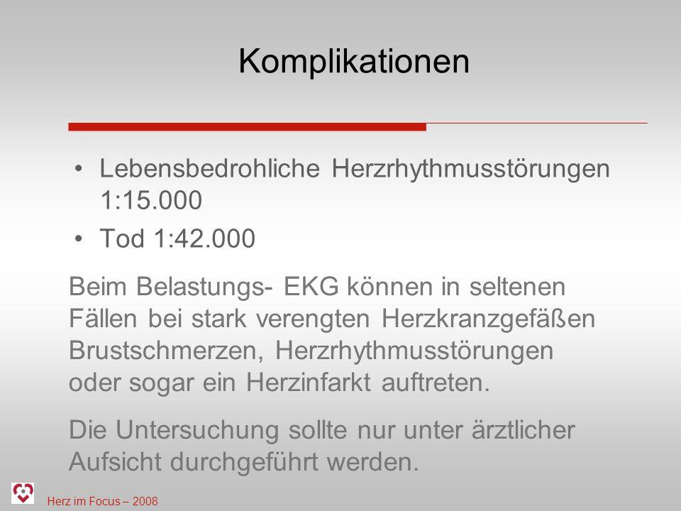 Komplikationen Lebensbedrohliche Herzrhythmusstörungen 1:15.000