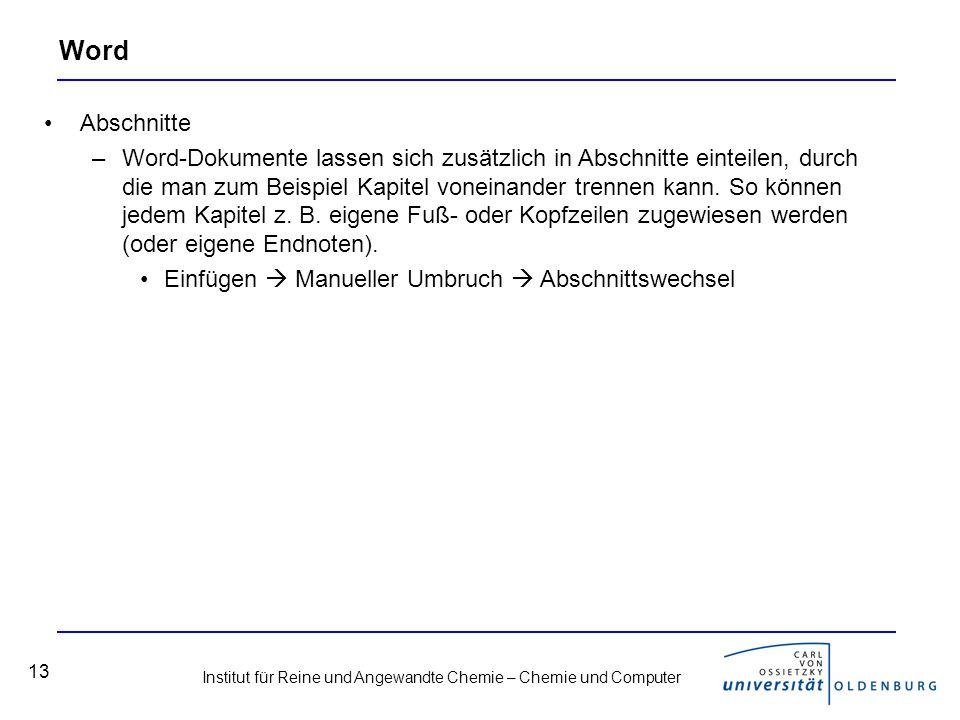 Word Abschnitte.