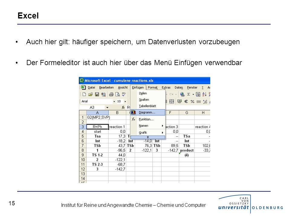 Excel Auch hier gilt: häufiger speichern, um Datenverlusten vorzubeugen.