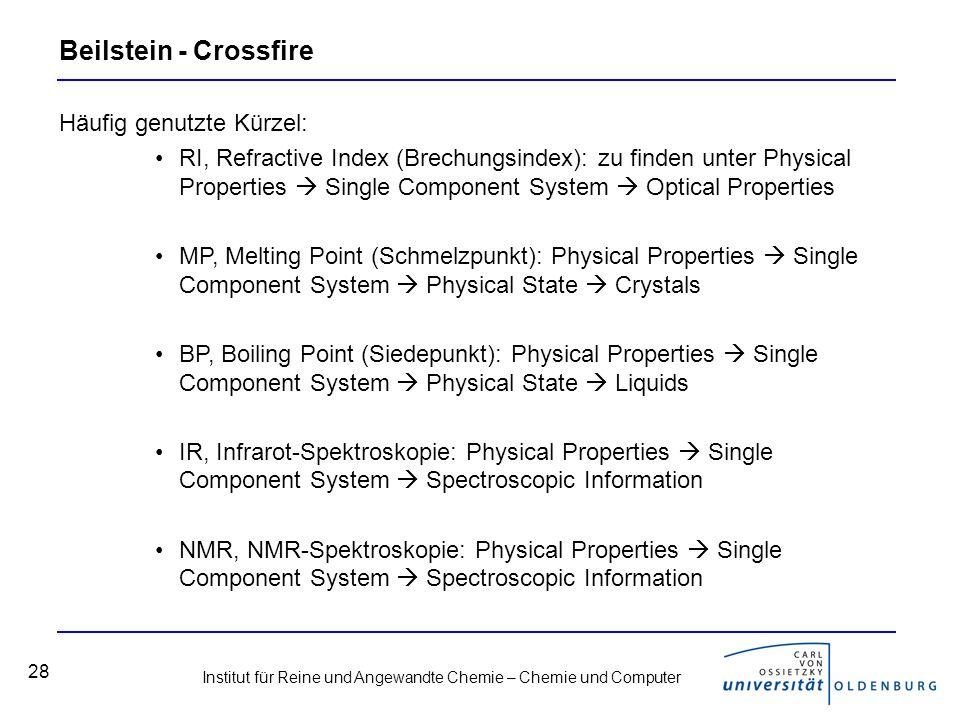 Beilstein - Crossfire Häufig genutzte Kürzel: