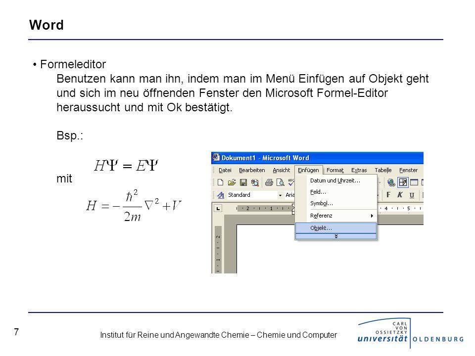 Word Formeleditor.