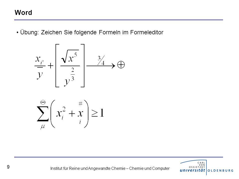 Word Übung: Zeichen Sie folgende Formeln im Formeleditor