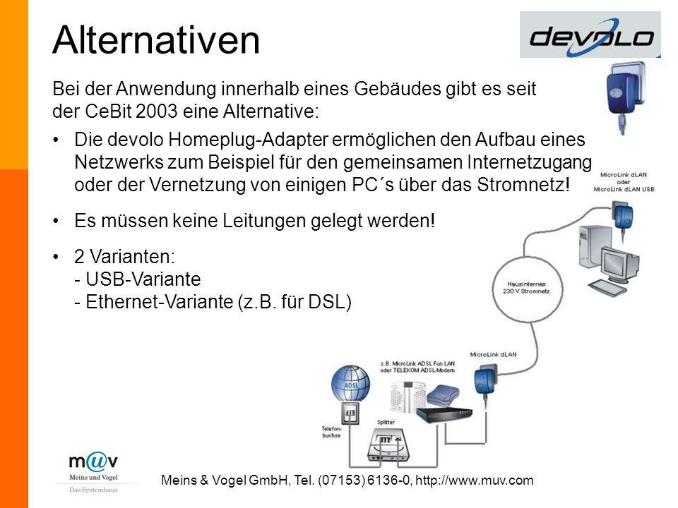 Meins & Vogel GmbH, Tel. (07153) 6136-0, http://www.muv.com
