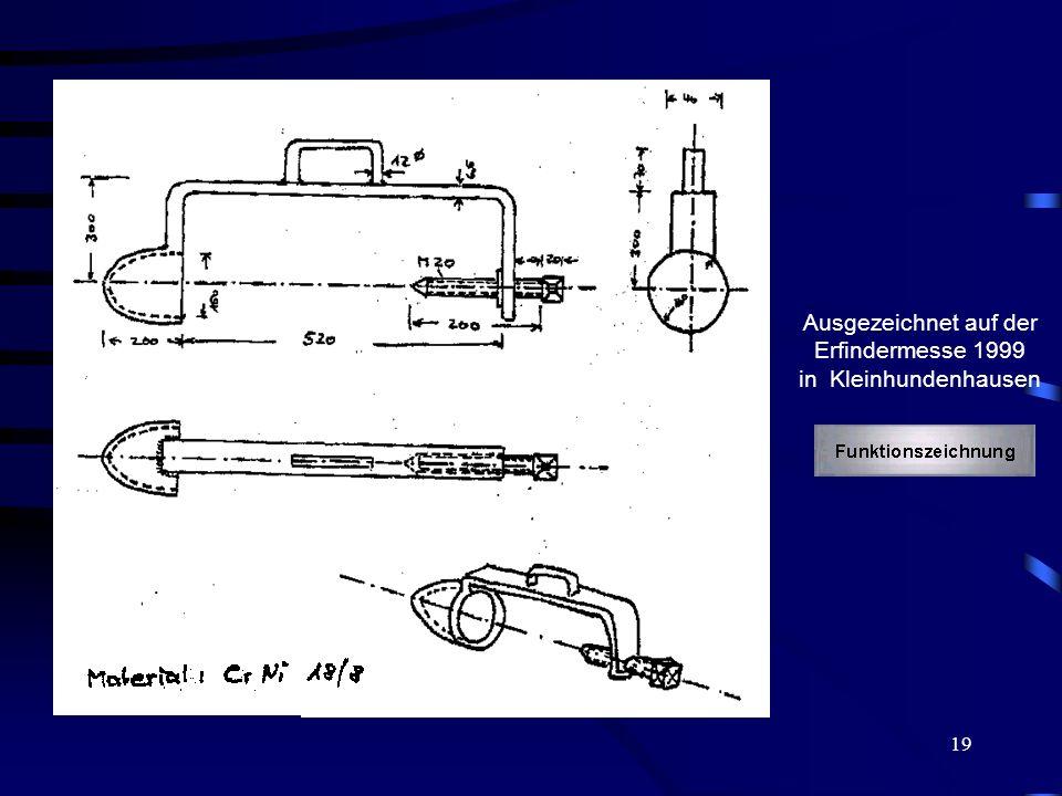 Ausgezeichnet auf der Erfindermesse 1999 in Kleinhundenhausen