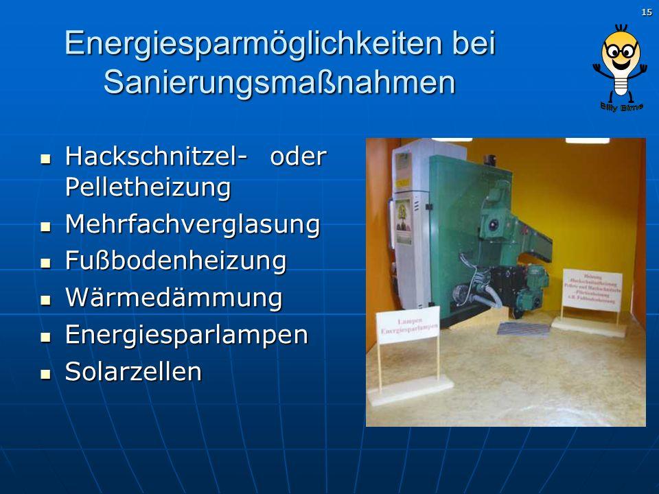 Energiesparmöglichkeiten bei Sanierungsmaßnahmen