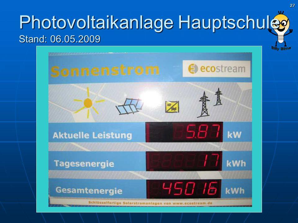 Photovoltaikanlage Hauptschule Stand: 06.05.2009