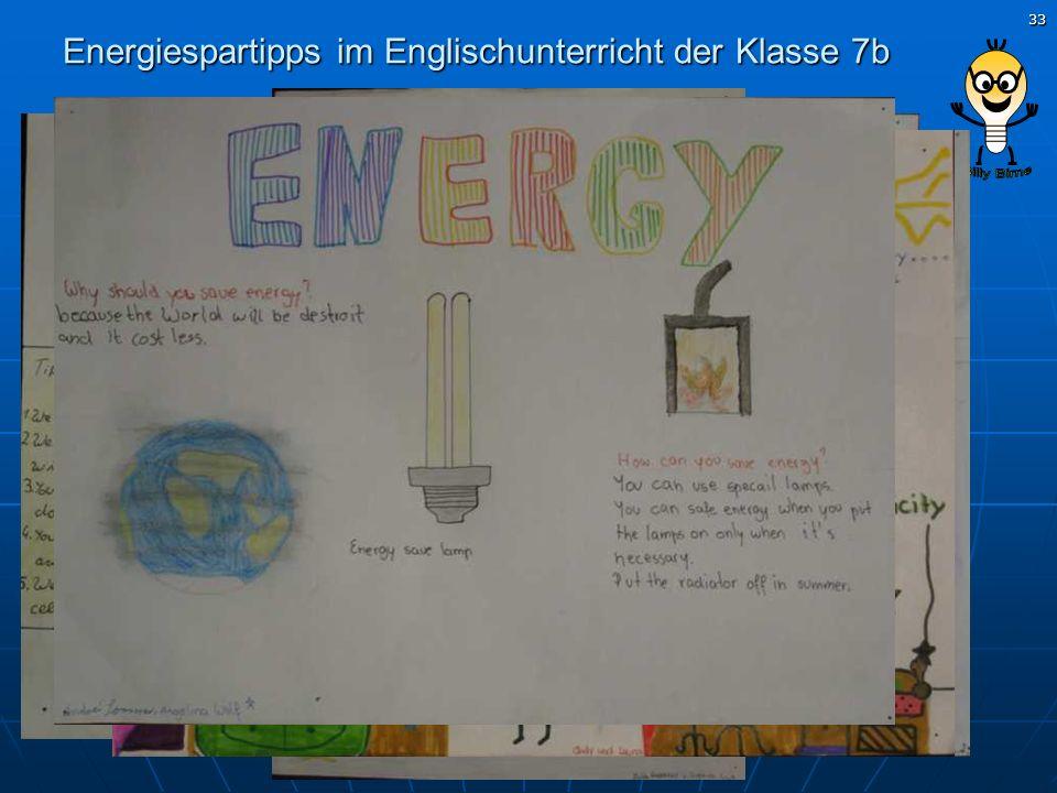 Energiespartipps im Englischunterricht der Klasse 7b