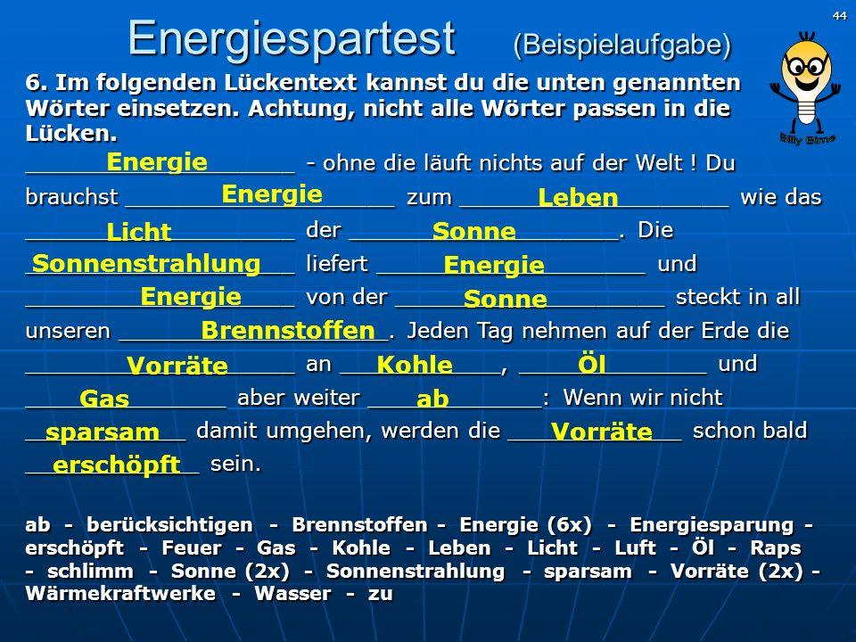 Energiespartest (Beispielaufgabe)