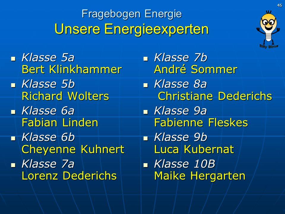 Fragebogen Energie Unsere Energieexperten