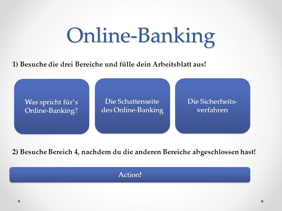 Online-Banking 1) Besuche die drei Bereiche und fülle dein Arbeitsblatt aus! Was spricht für's Online-Banking