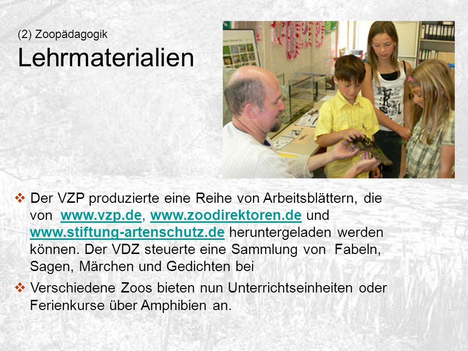 (2) Zoopädagogik Lehrmaterialien.