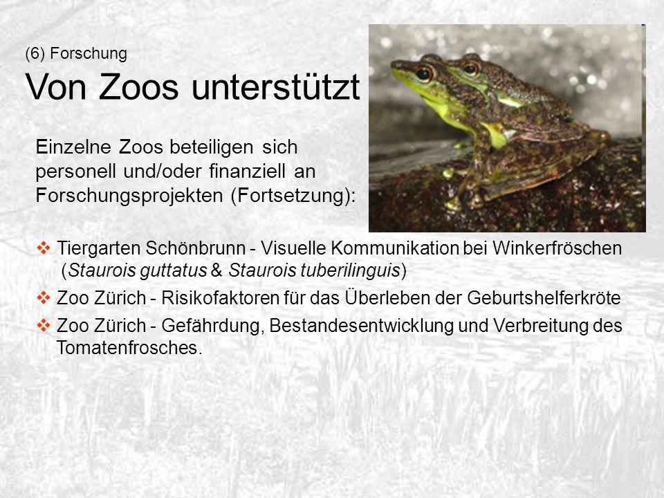 (6) Forschung Von Zoos unterstützt. Einzelne Zoos beteiligen sich personell und/oder finanziell an Forschungsprojekten (Fortsetzung):
