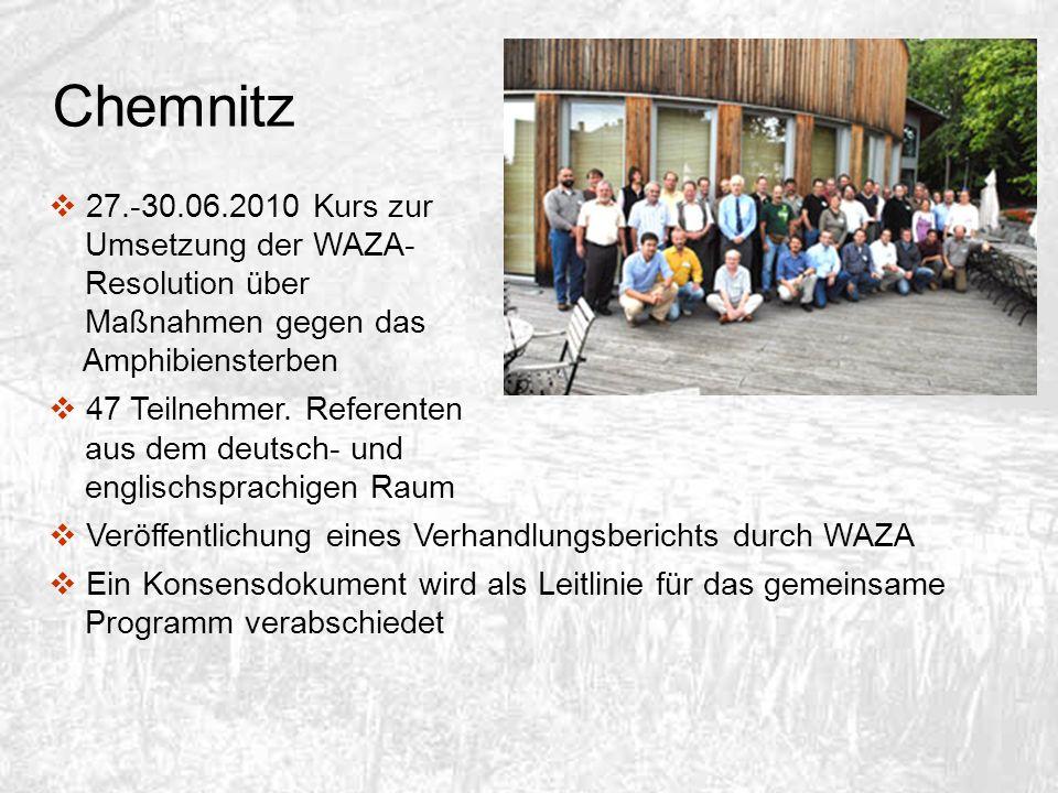 Chemnitz 27.-30.06.2010 Kurs zur Umsetzung der WAZA- Resolution über Maßnahmen gegen das Amphibiensterben.