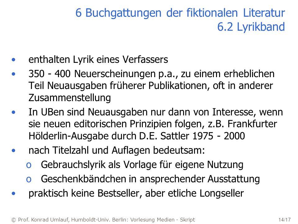 6 Buchgattungen der fiktionalen Literatur 6.2 Lyrikband