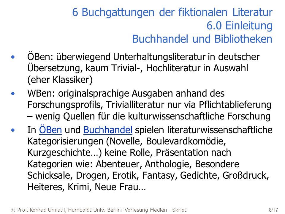 6 Buchgattungen der fiktionalen Literatur 6
