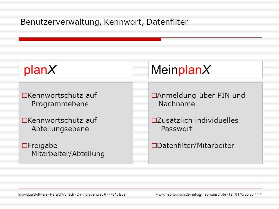 Benutzerverwaltung, Kennwort, Datenfilter