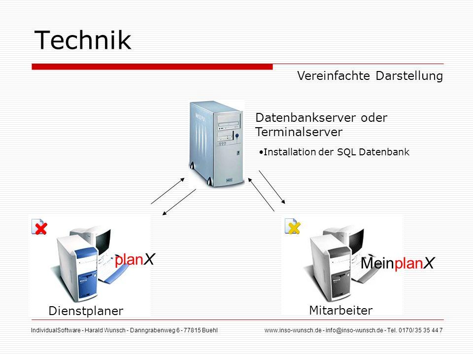 Technik planX MeinplanX Vereinfachte Darstellung Datenbankserver oder