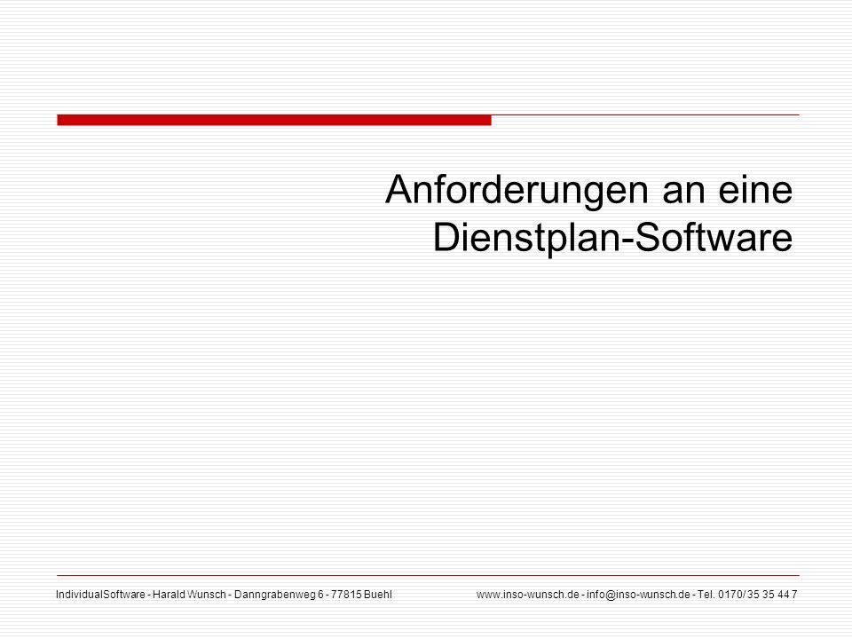 Anforderungen an eine Dienstplan-Software