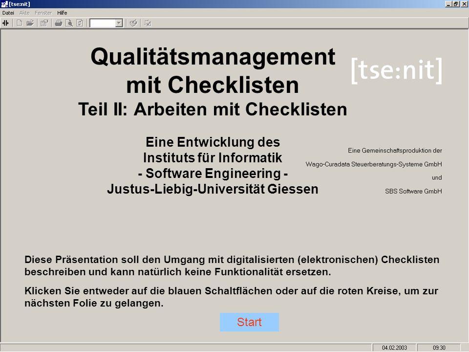 Qualitätsmanagement mit Checklisten