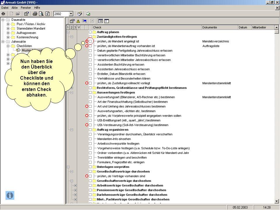Nun haben Sie den Überblick über die Checkliste und können den ersten Check abhaken.