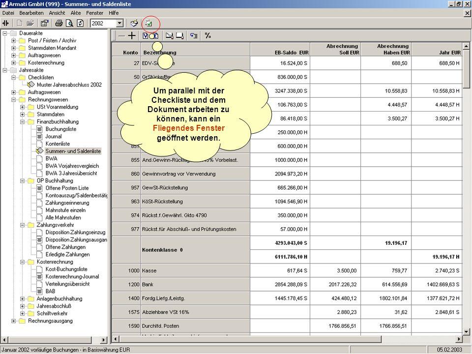 Um parallel mit der Checkliste und dem Dokument arbeiten zu können, kann ein Fliegendes Fenster geöffnet werden.