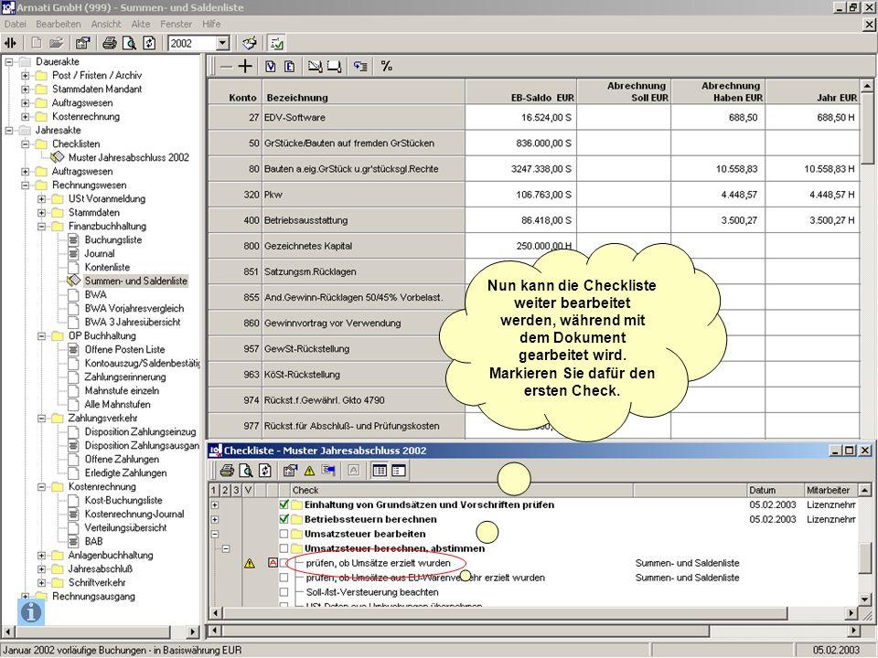 Nun kann die Checkliste weiter bearbeitet werden, während mit dem Dokument gearbeitet wird.
