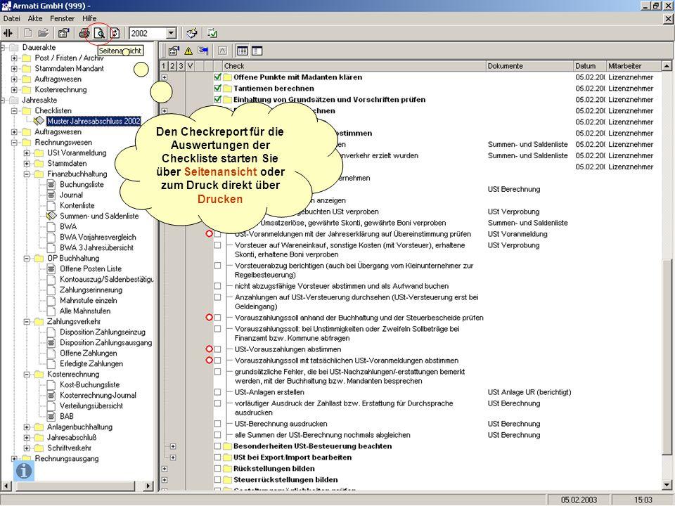 Den Checkreport für die Auswertungen der Checkliste starten Sie über Seitenansicht oder zum Druck direkt über Drucken