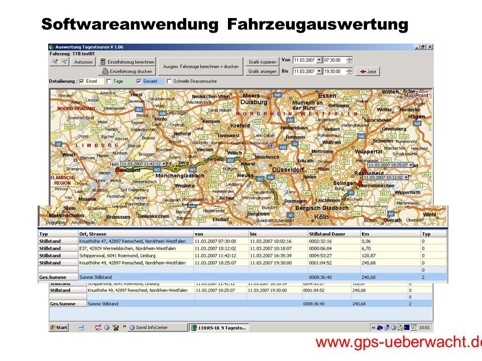 Softwareanwendung Fahrzeugauswertung