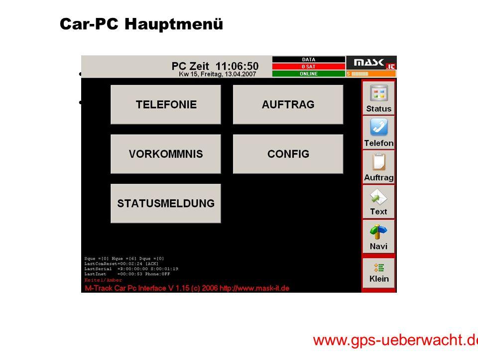 Car-PC Hauptmenü Kinderleichte Menüführung