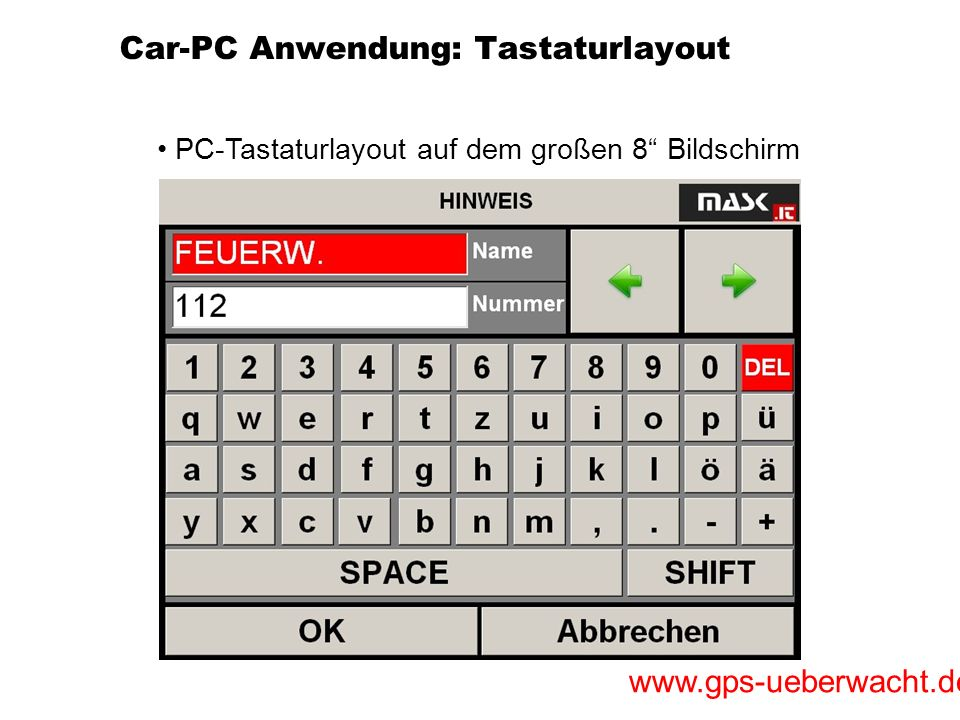 Car-PC Anwendung: Tastaturlayout