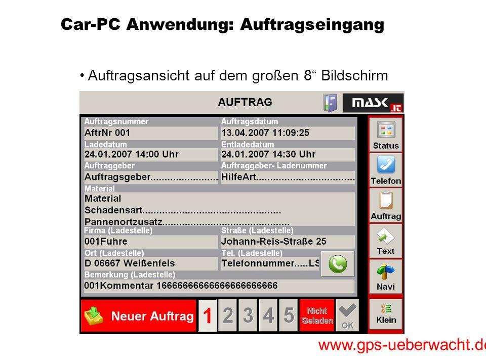 Car-PC Anwendung: Auftragseingang