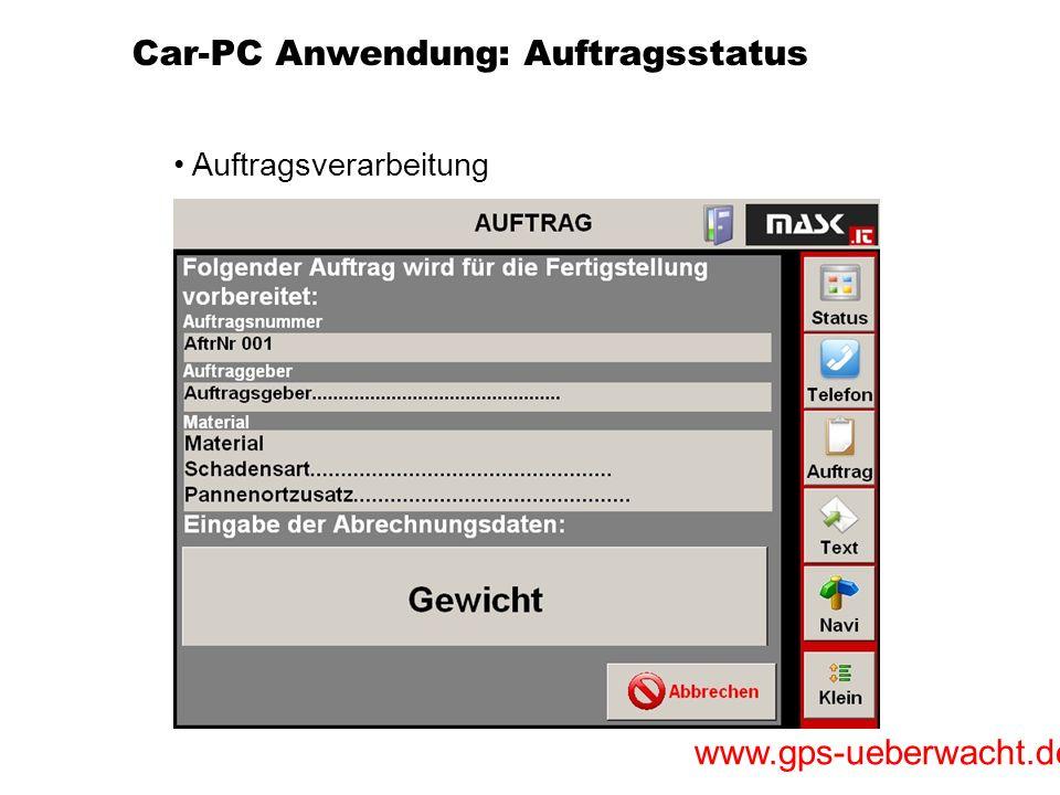 Car-PC Anwendung: Auftragsstatus