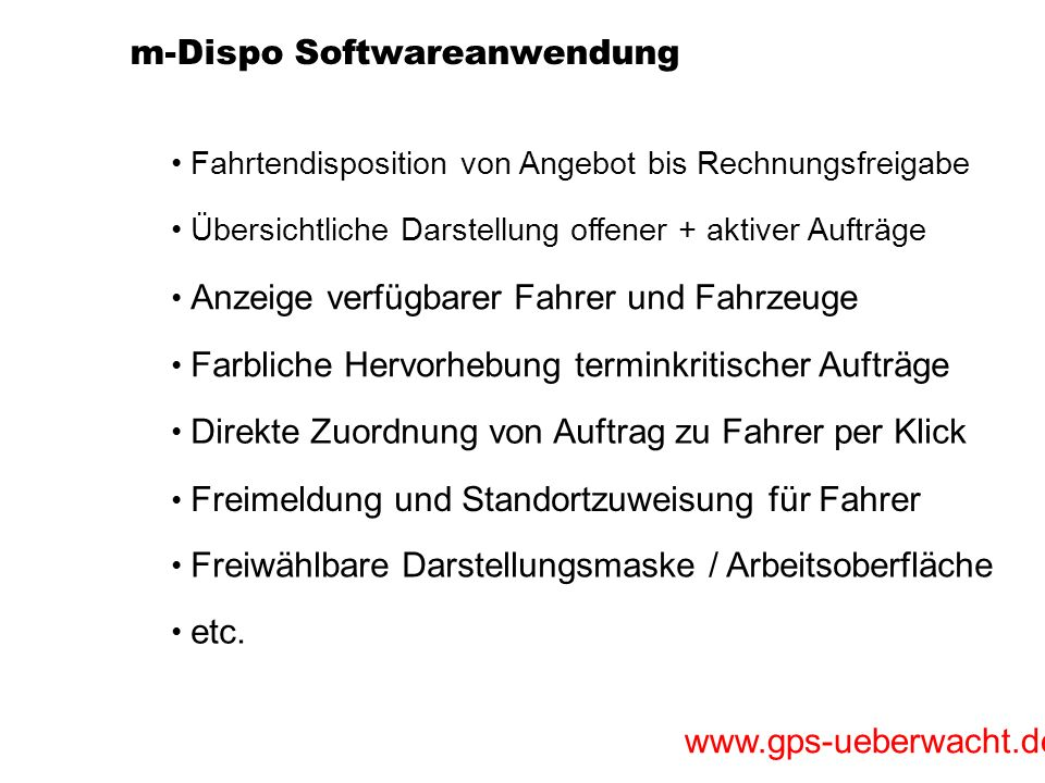 m-Dispo Softwareanwendung
