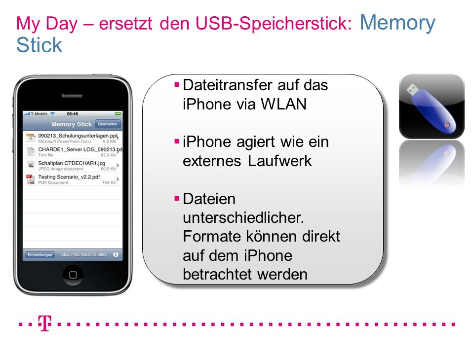 My Day – ersetzt den USB-Speicherstick: Memory Stick