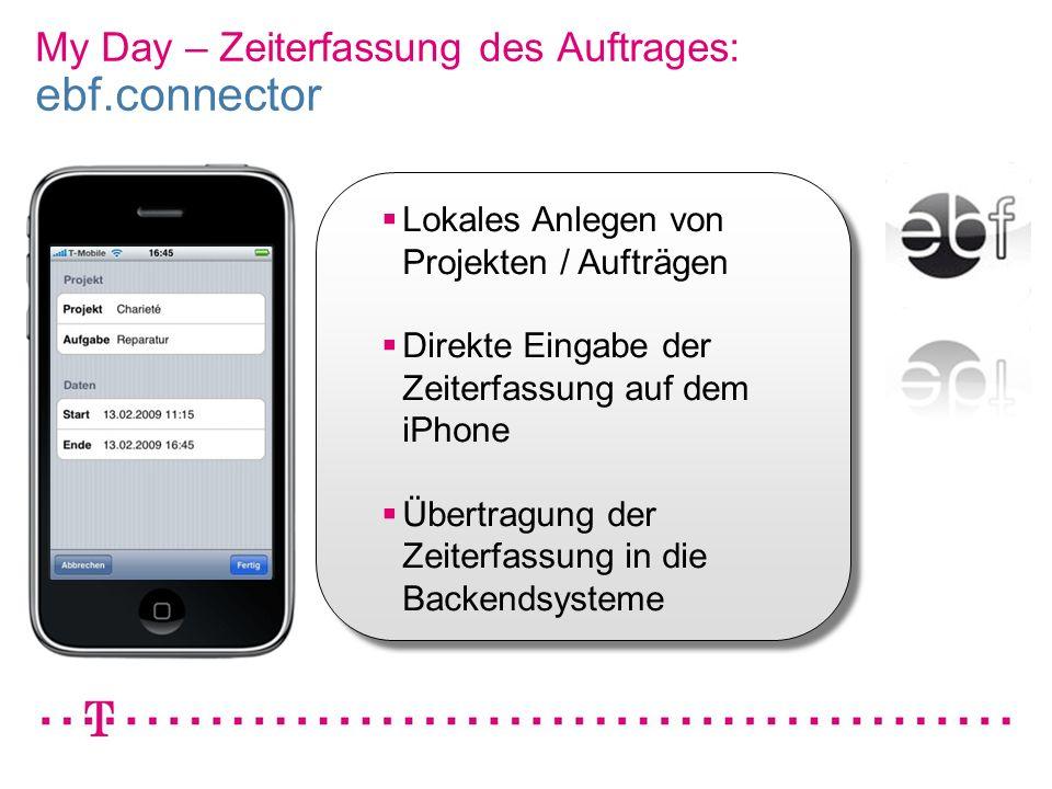 My Day – Zeiterfassung des Auftrages: ebf.connector