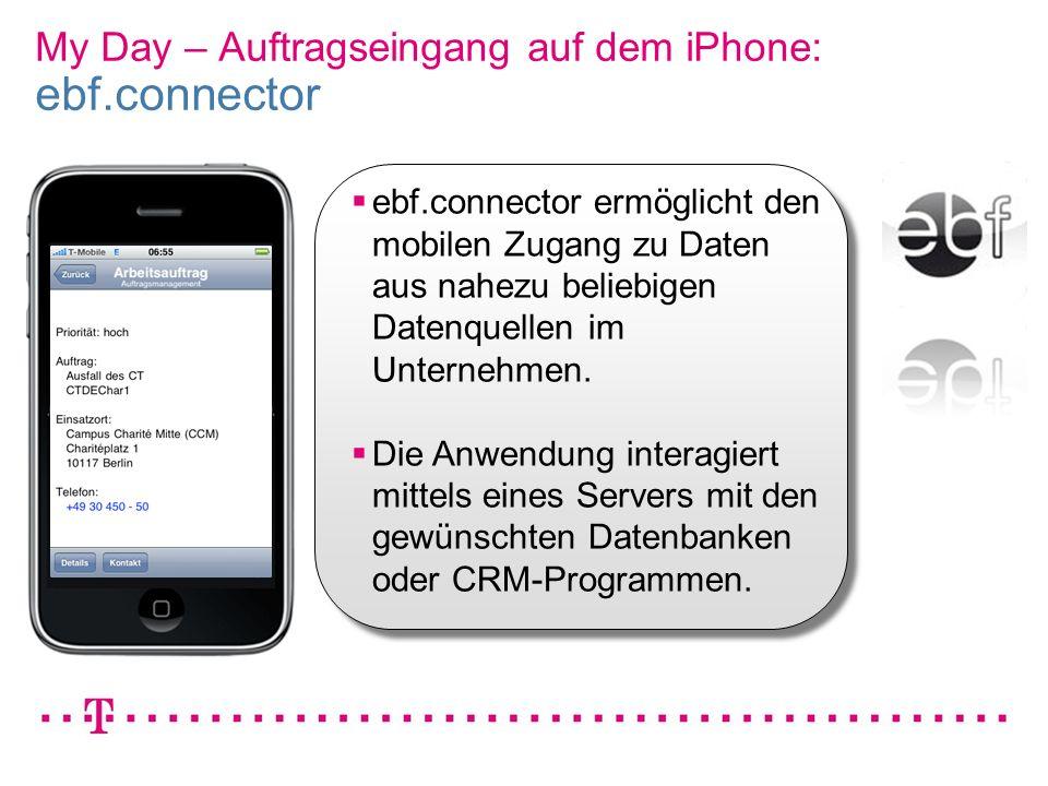 My Day – Auftragseingang auf dem iPhone: ebf.connector