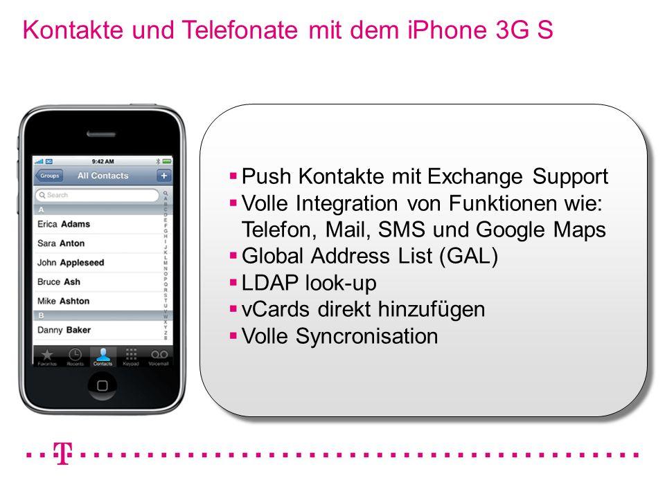 Kontakte und Telefonate mit dem iPhone 3G S