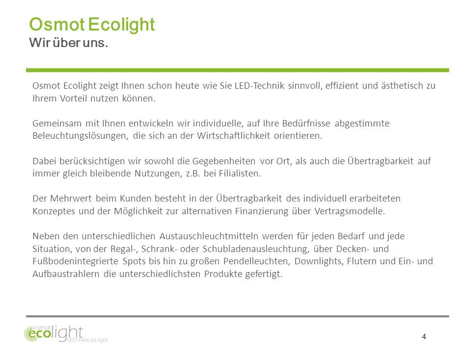 Osmot Ecolight Wir über uns.