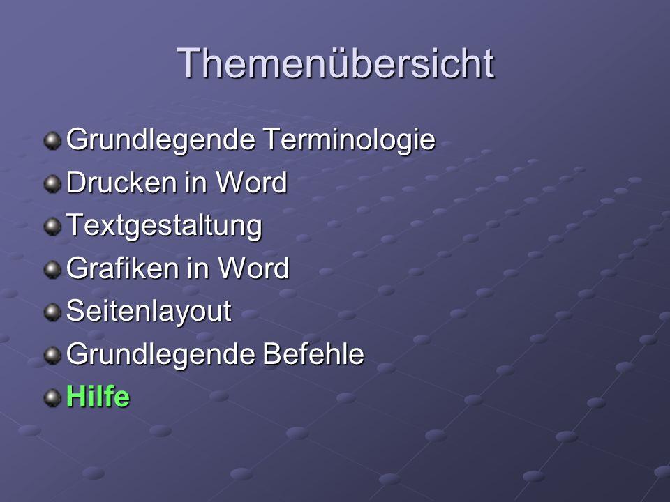 Themenübersicht Grundlegende Terminologie Drucken in Word