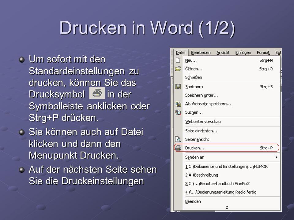 Drucken in Word (1/2)
