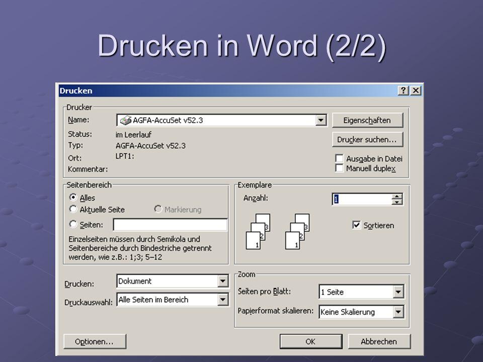 Drucken in Word (2/2)