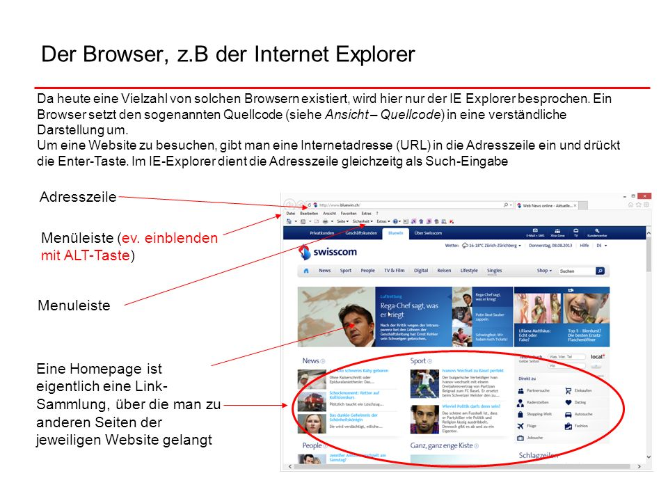 Der Browser, z.B der Internet Explorer