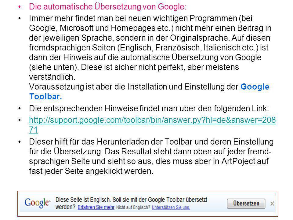 Die automatische Übersetzung von Google: