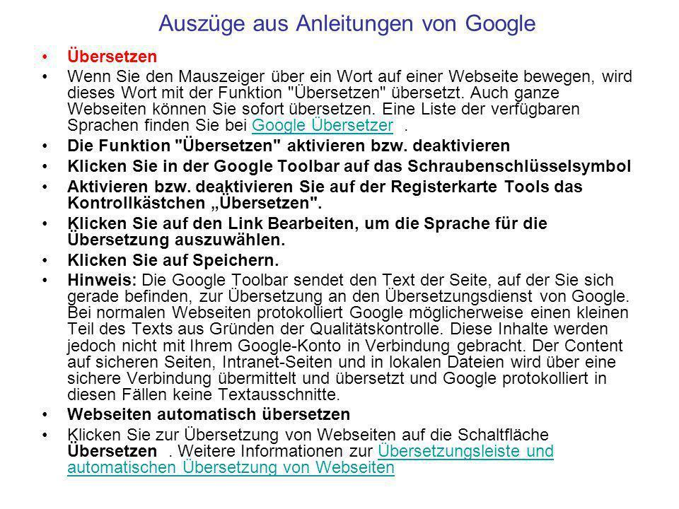 Auszüge aus Anleitungen von Google