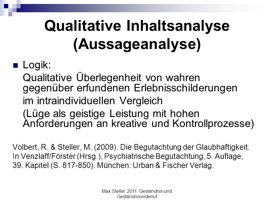 Qualitative Inhaltsanalyse (Aussageanalyse)