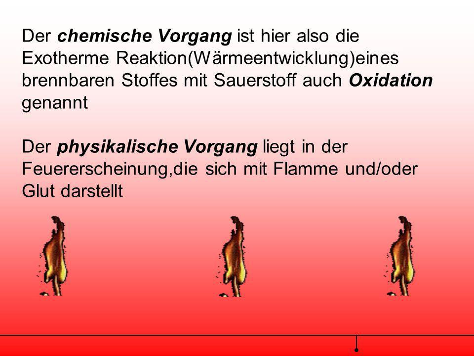 Der chemische Vorgang ist hier also die Exotherme Reaktion(Wärmeentwicklung)eines brennbaren Stoffes mit Sauerstoff auch Oxidation genannt Der physikalische Vorgang liegt in der Feuererscheinung,die sich mit Flamme und/oder Glut darstellt