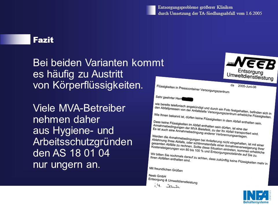 Fazit Entsorgungsprobleme größerer Kliniken. durch Umsetzung der TA-Siedlungsabfall vom 1.6.2005.