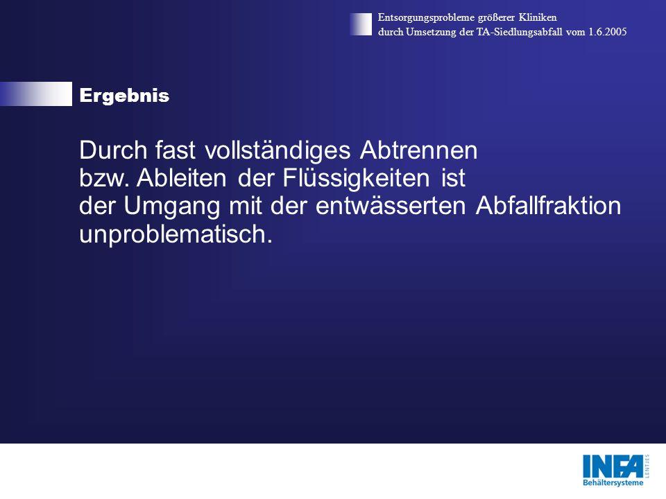 ErgebnisEntsorgungsprobleme größerer Kliniken. durch Umsetzung der TA-Siedlungsabfall vom 1.6.2005.